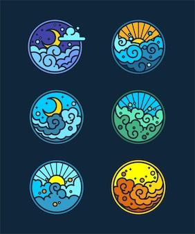 Conjunto de seis ilustraciones diferentes relacionadas con el cielo sobre fondo azul oscuro