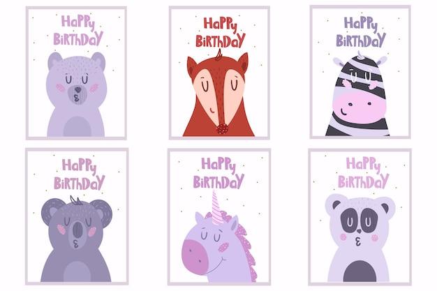 Conjunto de seis lindas tarjetas de felicitación con animales. ilustración.