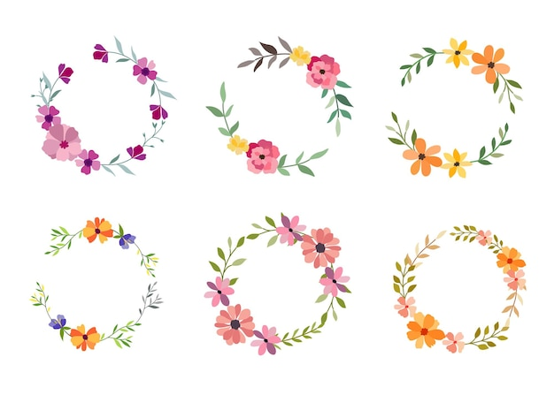 Conjunto de seis marco de flores acuarela en blanco