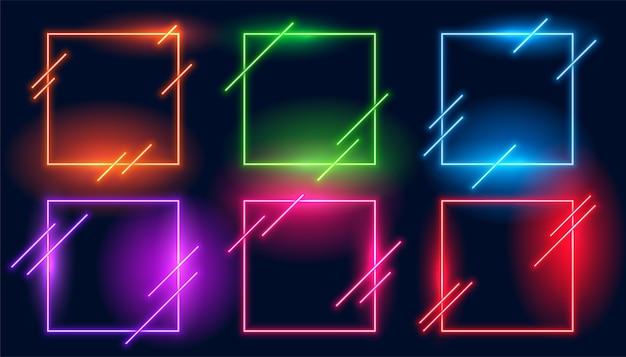 Conjunto de seis marcos modernos cuadrados de luz de neón