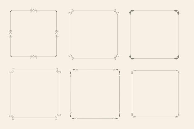 Conjunto de seis marcos ornamentales decorativos vintage clásico