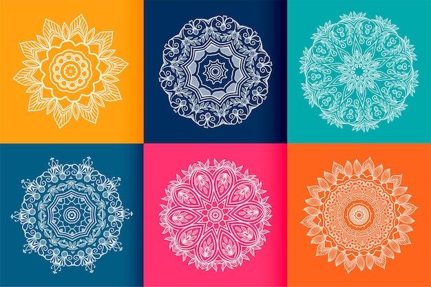 Conjunto de seis patrones étnicos de mandala.
