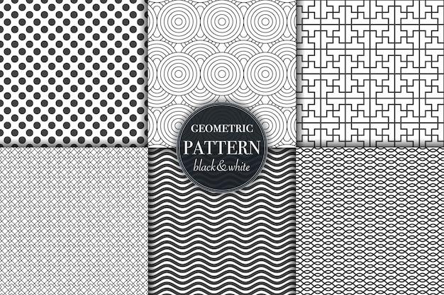 Conjunto de seis patrones geométricos en escala de grises en blanco y negro