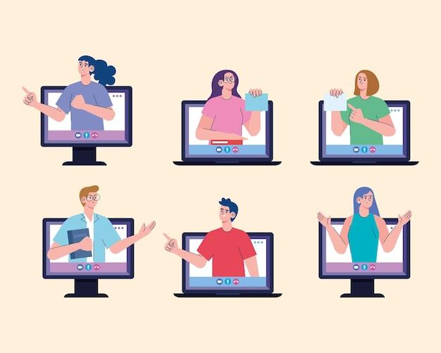 Conjunto de seis personajes de maestros en línea.