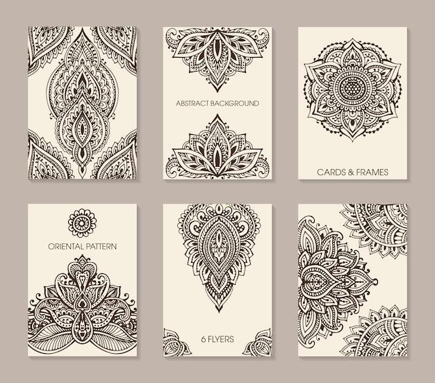 Conjunto de seis tarjetas o folletos con adorno abstracto henna mehndi
