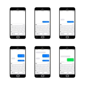 Conjunto de seis teléfonos inteligentes brillantes con diferentes plantillas de mensajes de texto sms
