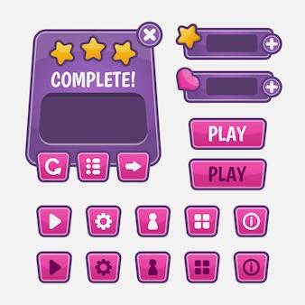 Conjunto de selección de menú de juego para juegos de rol y aventuras, que incluye menú, selección de nivel y opciones.