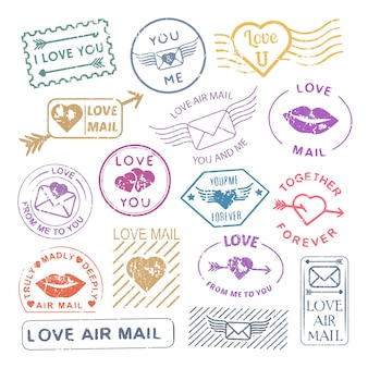 Conjunto de sello de carta romántica