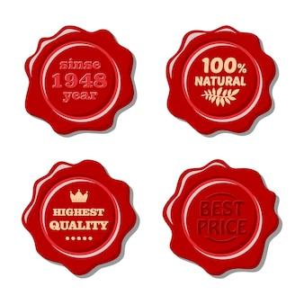 Conjunto de sello de cera roja aislado vector