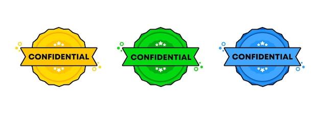 Conjunto de sello confidencial. vector. icono de insignia confidencial. logotipo de insignia certificado. plantilla de sello. etiqueta, etiqueta engomada, iconos. vector eps 10. aislado sobre fondo blanco.