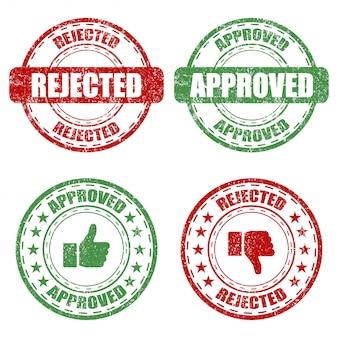 Conjunto de sello de goma aprobado y rechazado sobre un fondo blanco