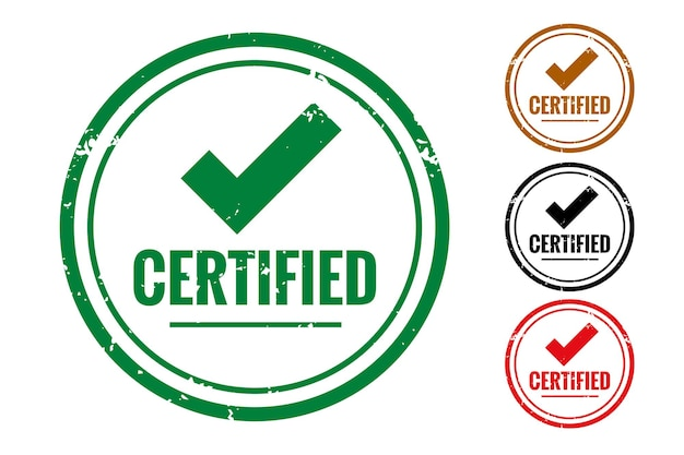 Conjunto de sello de goma o etiqueta de verificación de calidad certificada