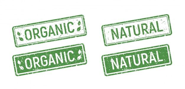 Conjunto de sello de goma orgánica, estilo natural ecológico verde en sello de goma grunge.