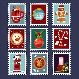 Conjunto de sello de tarjeta postal de feliz navidad