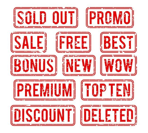 Conjunto de sellos. agotado y promoción, sello con bono de texto e ilustración de venta