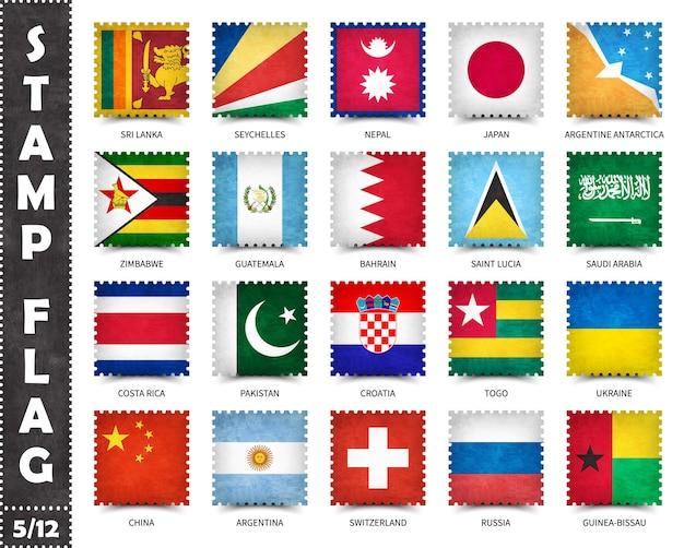 Conjunto de sellos de banderas oficiales de países del mundo.