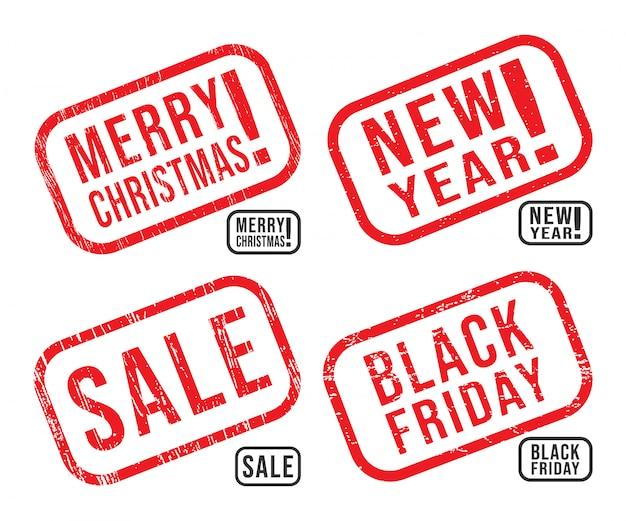 Conjunto de sellos de caucho de año nuevo, navidad, viernes negro y venta con texturas grunge