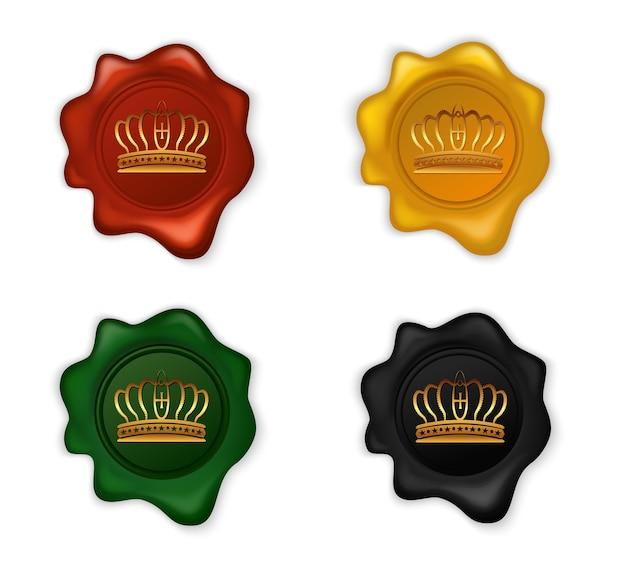 Conjunto de sellos de cera de corona