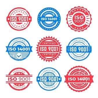 Conjunto de sellos de certificación iso