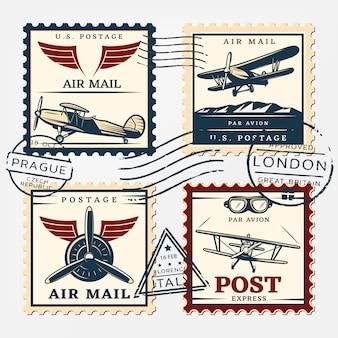Conjunto de sellos cuadrados de franqueo de aviones coloridos