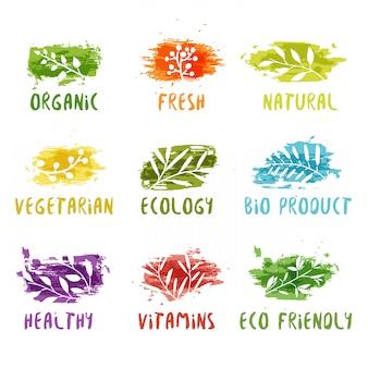 Conjunto de sellos ecológicos.