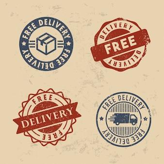 Conjunto de sellos de entrega gratis
