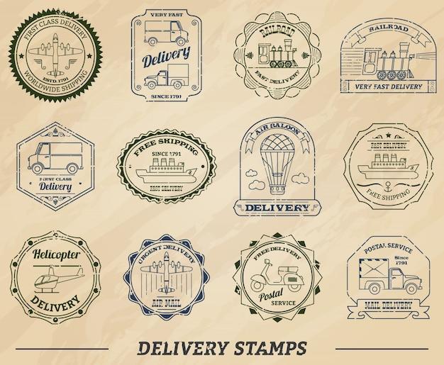 Conjunto de sellos de entrega
