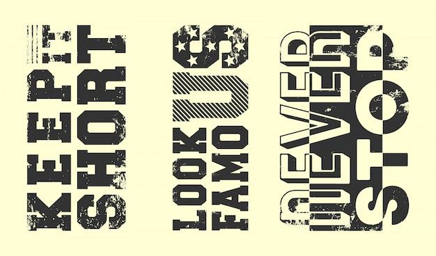 Conjunto de sellos de estampado de camiseta con lema de moda