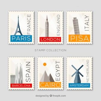 Conjunto de sellos históricos con ciudades y monumentos