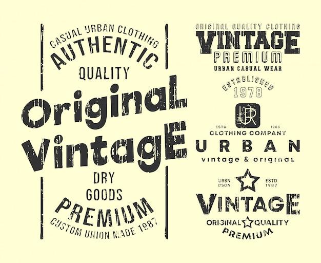 Conjunto de sellos de impresión de camiseta vintage