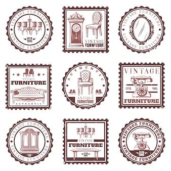 Conjunto de sellos de muebles vintage con sofá retro, lámpara de araña, relojes, espejo, teléfono, gabinete, mesa