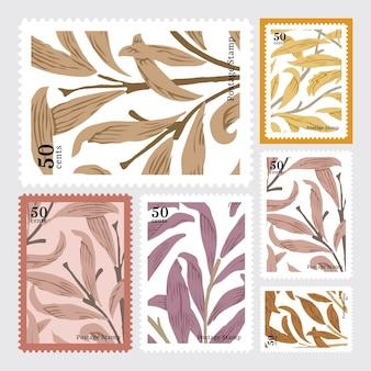 Conjunto de sellos de patrón de william morris