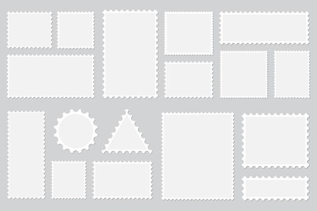 Conjunto de sellos postales en blanco con sombra