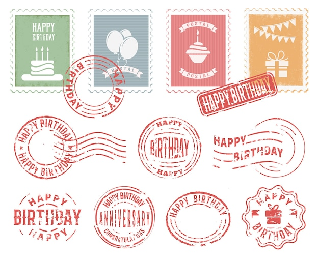 Conjunto de sellos postales coloridos de cumpleaños