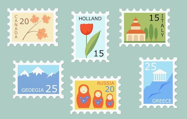 Conjunto de sellos postales creativos con puntos de referencia y símbolos de diferentes países.