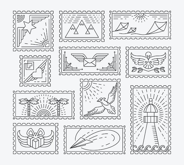 Conjunto de sellos postales de línea. colección monocromática aislada, fácil de cambiar de color.
