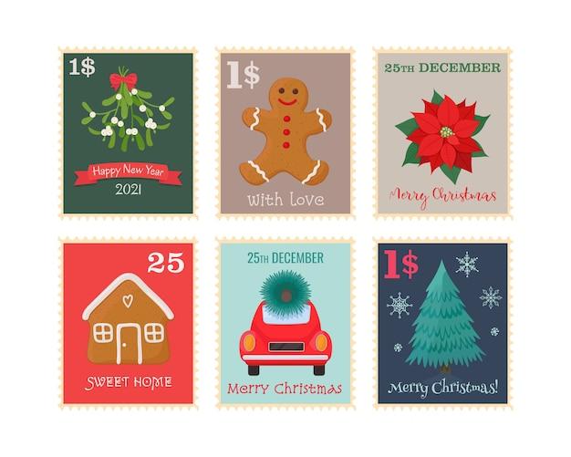 Conjunto de sellos postales de navidad ilustración vectorial