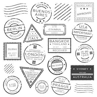 Conjunto de sellos postales retro monocromo