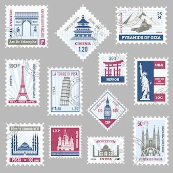 Conjunto de sellos postales
