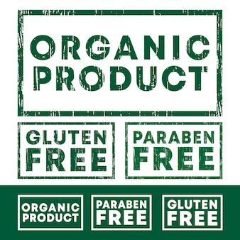 Conjunto de sellos de productos orgánicos, sin gluten ni parabenos