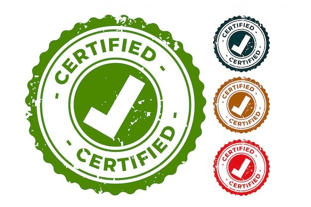 Conjunto de sellos de sellos de goma certificados y aprobados