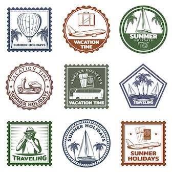 Conjunto de sellos de vacaciones de verano vintage