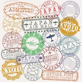 Conjunto de sellos de viaje y negocios de kyoto japón