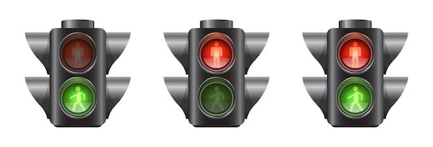 Conjunto de semáforos realistas para peatones.