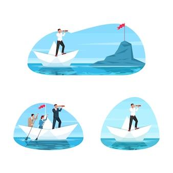 Conjunto de semi ilustración de liderazgo