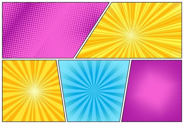 Conjunto de semitonos de arte pop. starburst cómico. banner de dibujos animados con puntos y rayas. efecto sunburst.