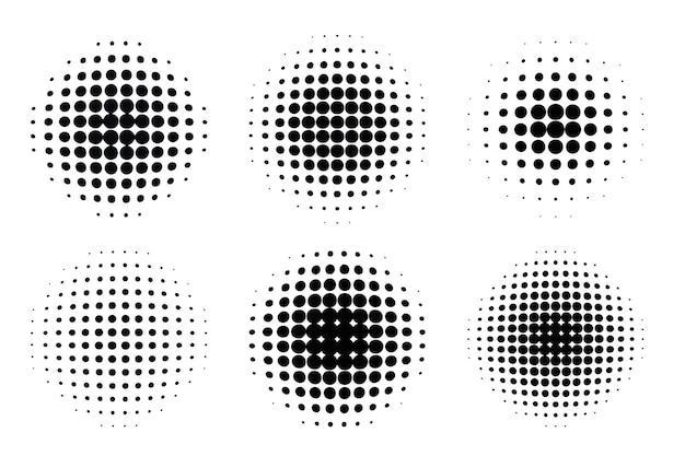 Conjunto de semitonos de círculo degradado de estilo cómic pop art aislado sobre fondo blanco