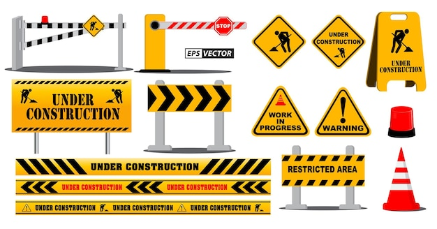 Conjunto de señal de carretera de barrera de carretera o bajo advertencia de sitio de construcción o conceptos de calle de carretera de bloque de barricada. vector eps