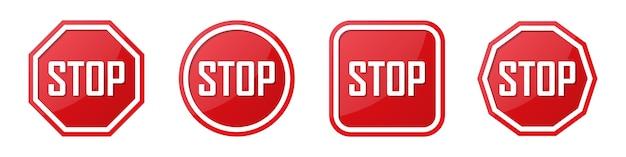 Conjunto de señal de stop roja en diferentes formas.