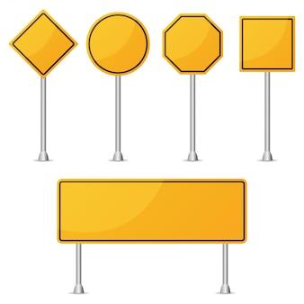 Conjunto de señal de tráfico en blanco amarillo. ilustración vectorial